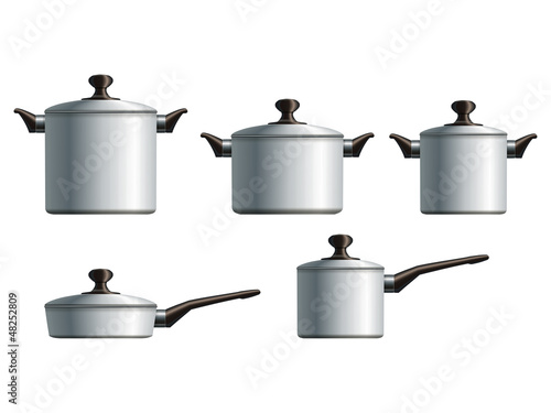 Set of five white painted cooking pots. Eps10
