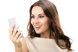 Happy smiling woman looking at mirror, isolated