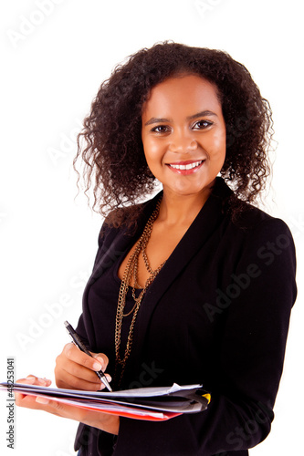 Beautiful african woman scheduling an appointment