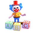 Clown learns his alphabet with wooden blocks