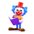 Clown reads a book for fun