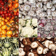 Tomaten, Knoblauch, Blumenkohl, Zwiebel, Kürbis, Pilze Collage