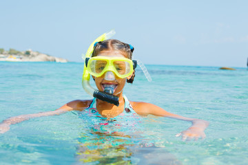 The girl in scuba mask