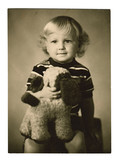 Vintage photo of a litle boy, circa 1970.