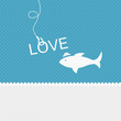 Valentine background: fish is on the hook of love
