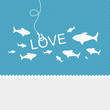 Valentine background: many fishes on the hook of love