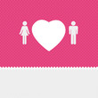 Valentine background: couple silhouettes with heart