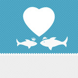 Valentine background: two fishes in love