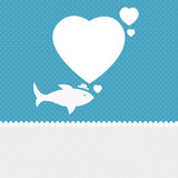 Valentine background: fish dreaming about love