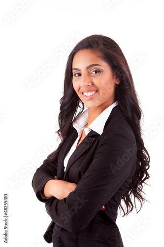 Portrait of modern business woman smiling over white background
