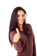 Beautiful mix race woman showing thumbs up over white background