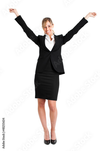 Portrait of happy woman, with arms raised in sign of victory