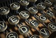 Close up of vintage typewriter keys
