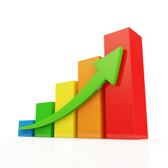 Colorful Business Graph on white background