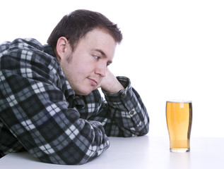 man tempted by alcohol