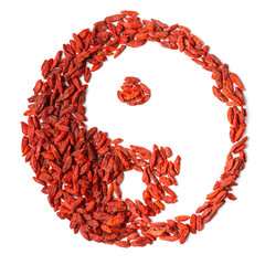 Goji berries with space in yin yang shape