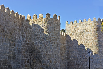 old wall surrounding the city Avila, Spain