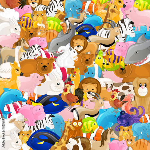 Vector Illustration of an Abstract Backgrounf with Animals