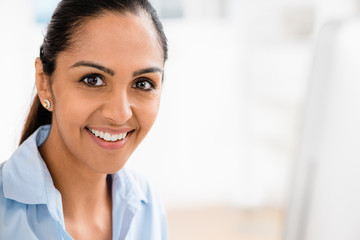 Indian business woman pretty smiling office