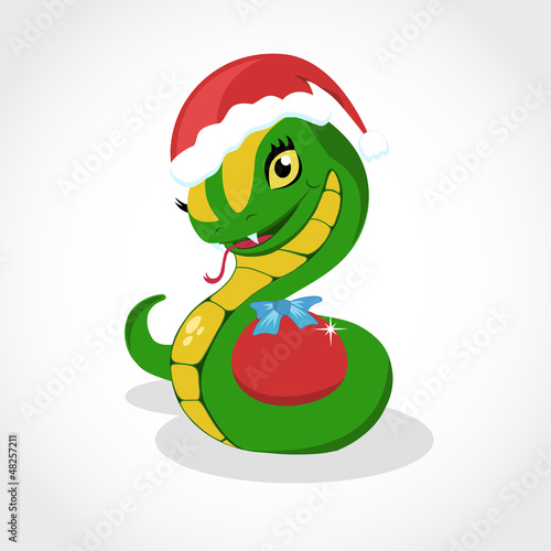 Chrismas snake. Symbol of 2013 year. Vector.