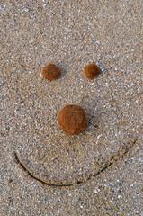 Divertida cara sonriente en la arena