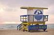 Miami Beach Florida, lifeguard house at sunrise