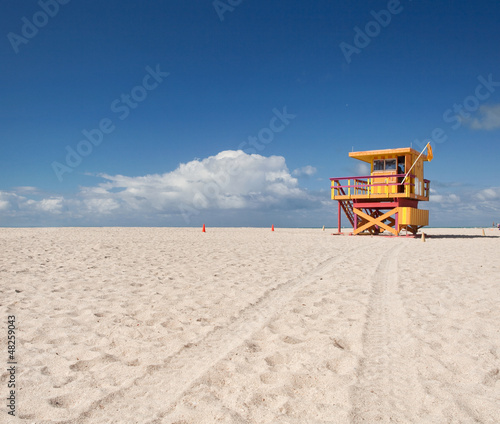 Miami Beach Florida, yellow lifeguard house