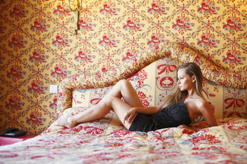 Beautiful woman on a sofa