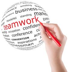 Hand write teamwork word on a globe