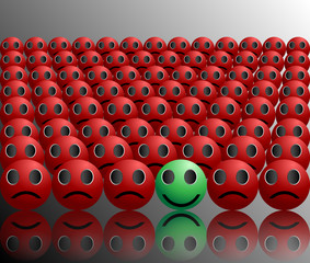 smiley ball stands out in a crowd single smile in a crowd