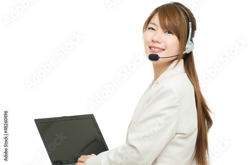 Beautiful asian business operator on white background