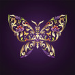 decorative butterfly with mix of  floral ornament elements