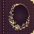 book cover design with decorative golden floral ornate frame