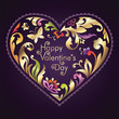 Valentine day greeting text inside floral ornate heart frame