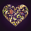 Valentine day decorative heart with floral ornate pattern