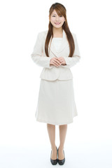 Beautiful asian businesswoman on white background