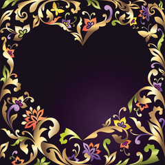 decorative Valentine day heart frame with floral ornate pattern