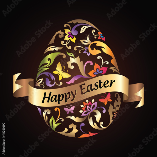 Happy Easter greeting. Ornate egg with ribbon tag