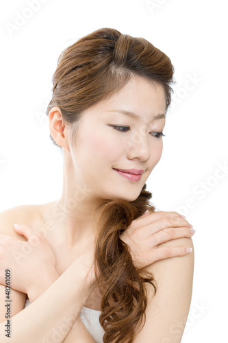 Beautiful asian woman on white background