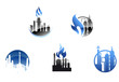 Refinery factory icons and symbols