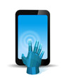 Digital Hand touch smartphone screen. Copyspace.
