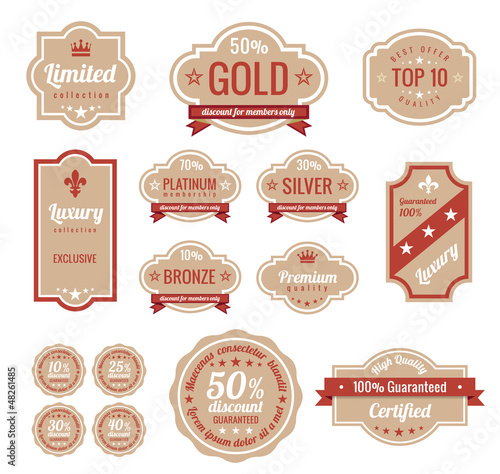 Vintage Labels set. Retro sticker logo template.