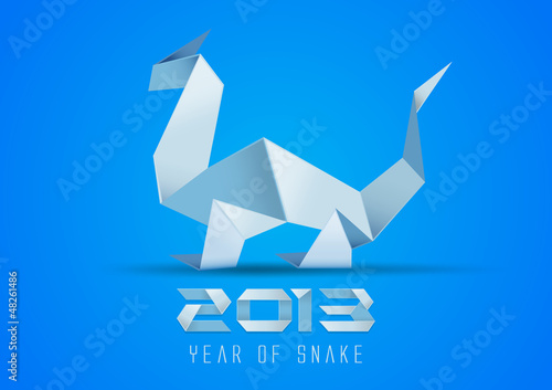 Origami snake. Paper dragon. 2013. Vector.