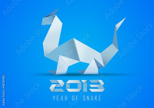 Origami snake. Paper dragon. 2013. Vector.
