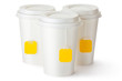 Three take-out teacups with teabags