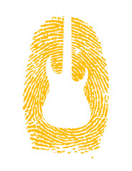 thumbprint with a guitar icon on it