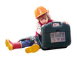 Child in hardhat with working  tools