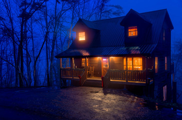 Cabin in the Mountains at night