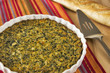 Spinach and cheese casserole with French baguette