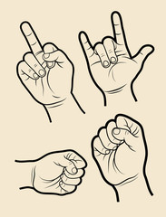Hand signs symbol 4, rock, power, hit